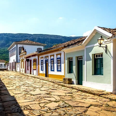Street of Tiradentes with colourful houses